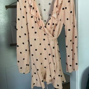 Bell sleeve pink polka dot wrap dress